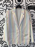 The Fox Collection Vintage White Pinstripe Blazer M