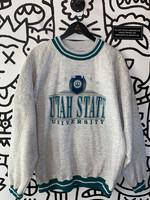 Vintage Utah State University Light Grey Crewneck XL