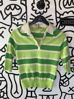 Vintage University Club Green Striped Collared Shirt S