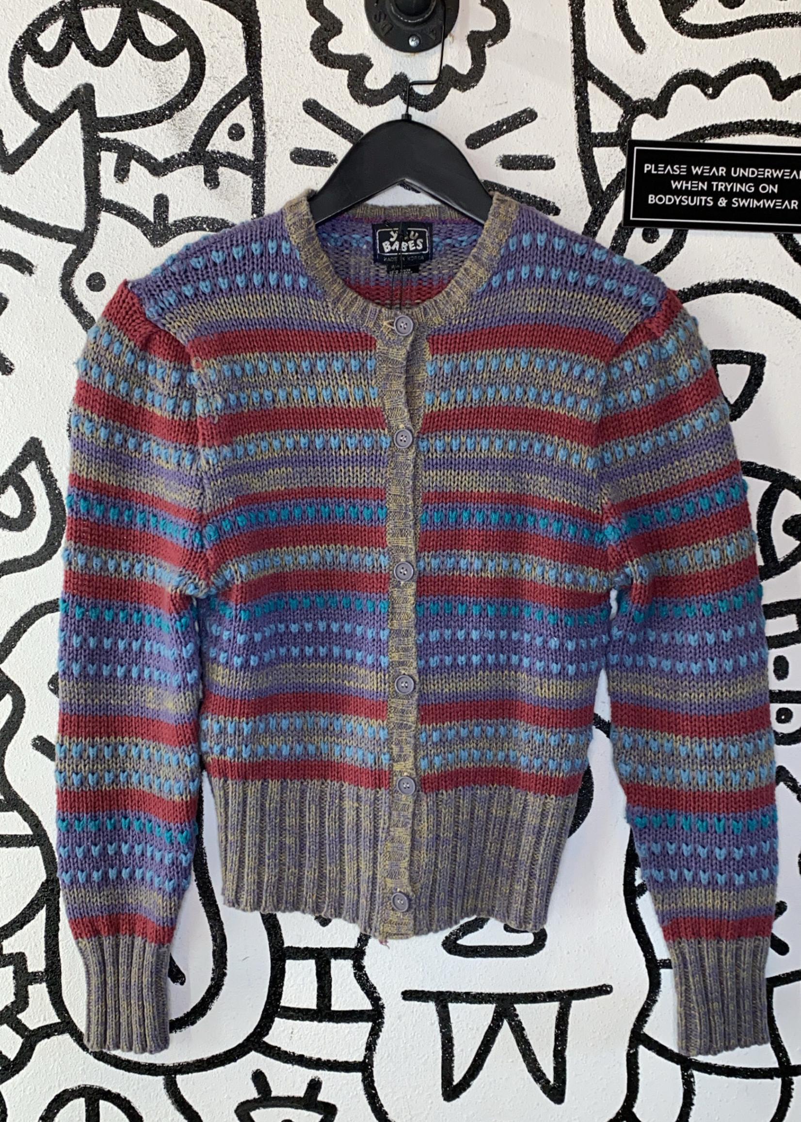 You Babes Purple Multicolor Knit Cardigan
