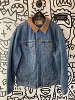 Vintage Wrangler Denim Puff Jacket with Corduroy Collar M