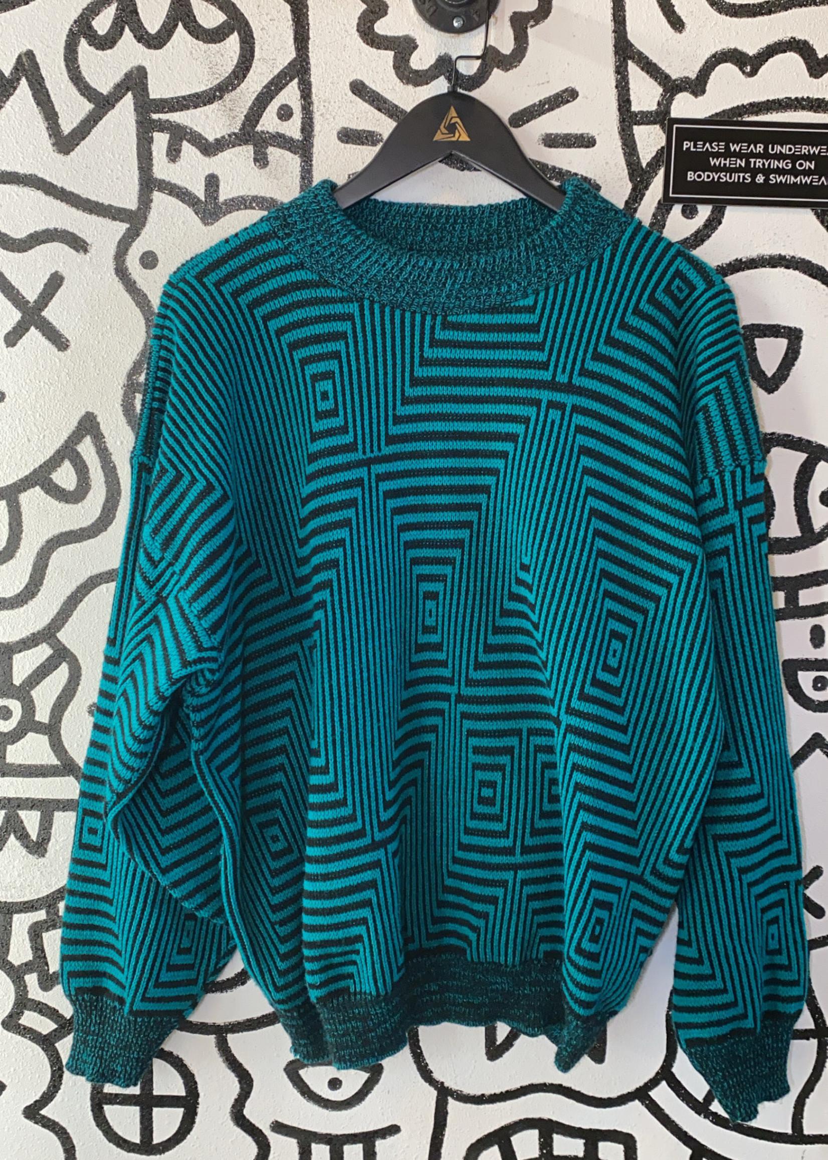 American Weekend Vintage Teal Trippy Sweater XL