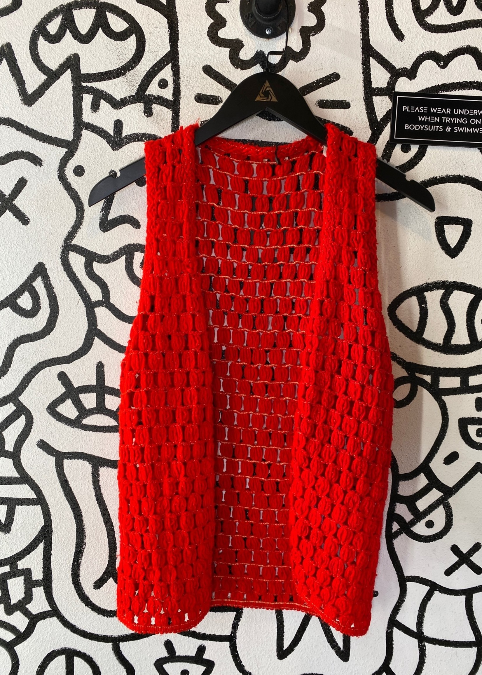 Vintage Red Knit Tie Vest L