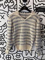Vintage Beige Blue Knit Collared Sweater S
