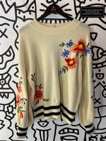 Vintage No Label Flower Embroidered Cream Sweater M