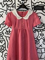 Vintage No Label Pink Collared Tie Dress S/M