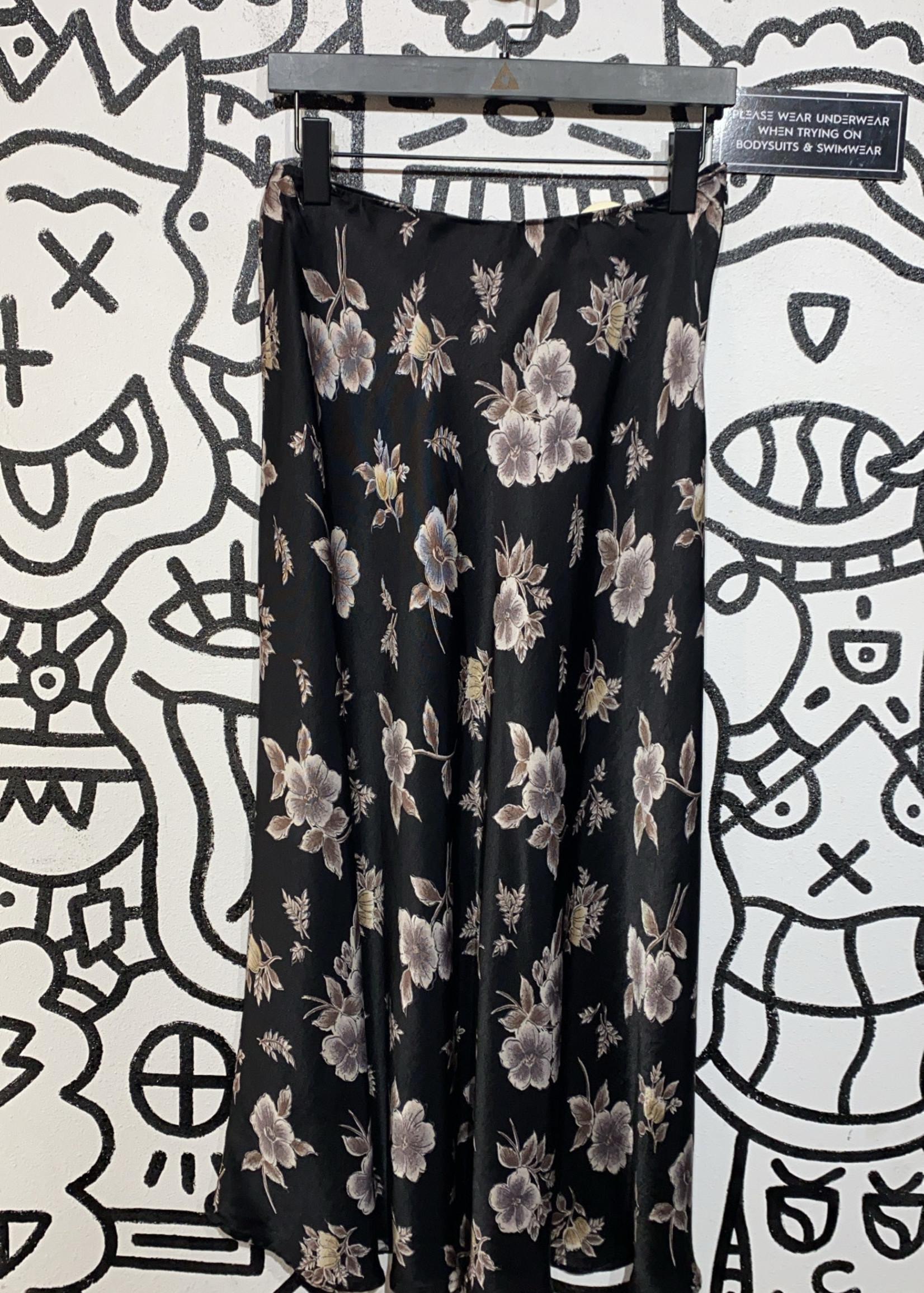 Vintage mix it black satin long skirt L