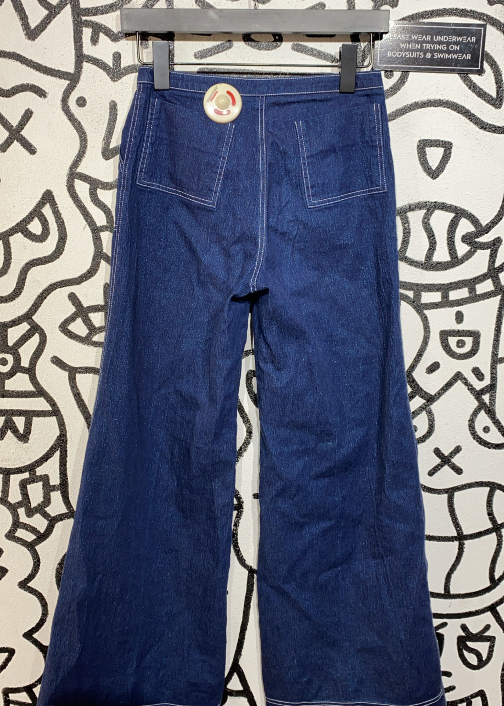 "Ovation Vintage Dark Blue Wide Leg Jeans 27"""