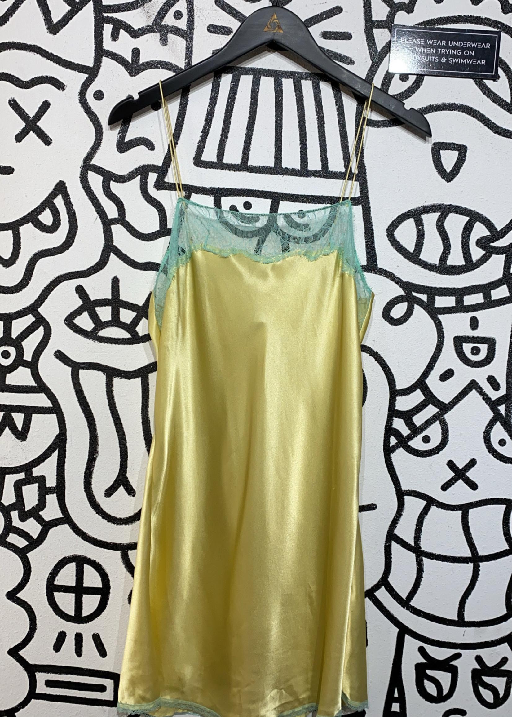 Victoria secret yellow and blue slip dress L