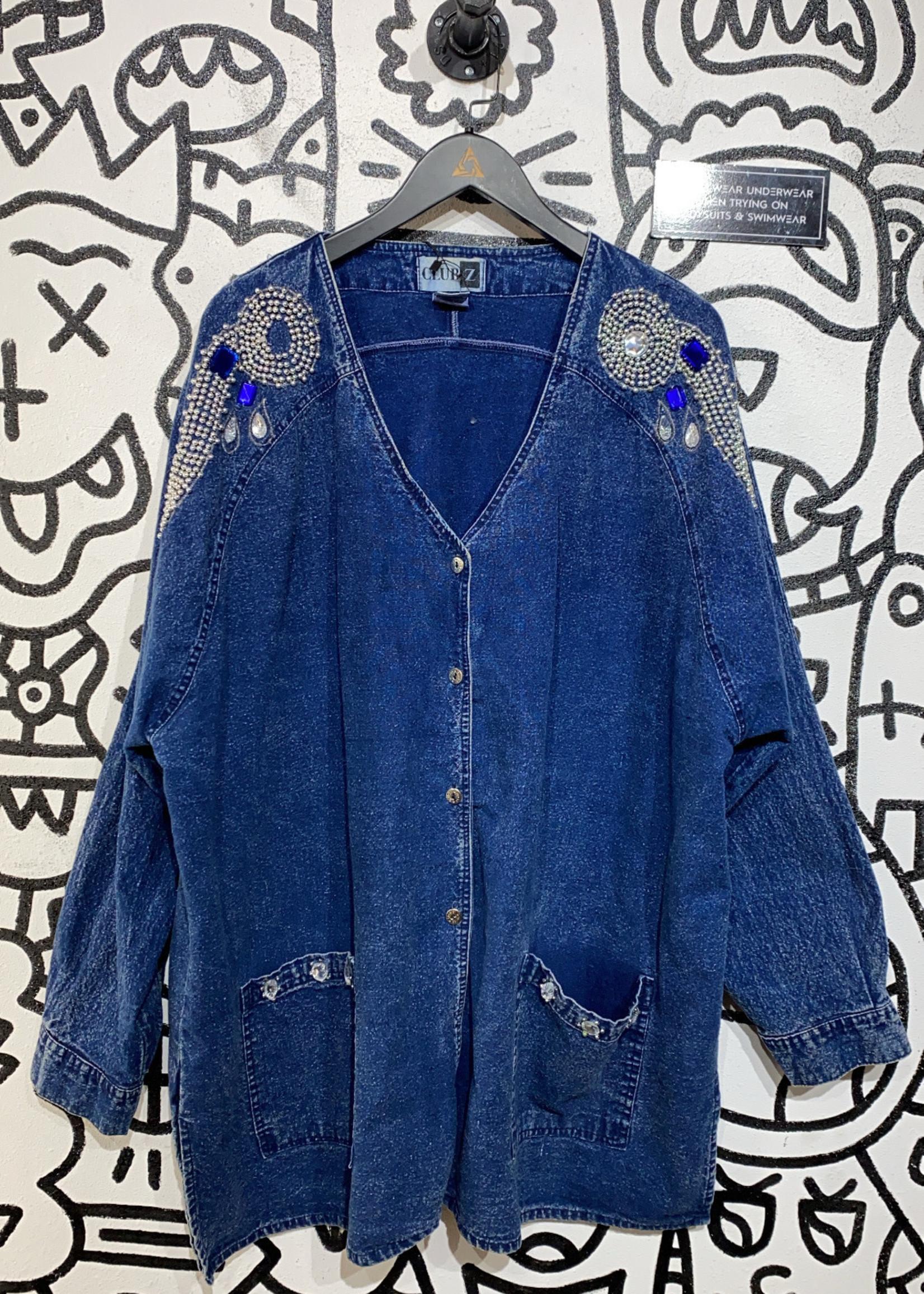 Club Z Long Denim Beaded jacket L