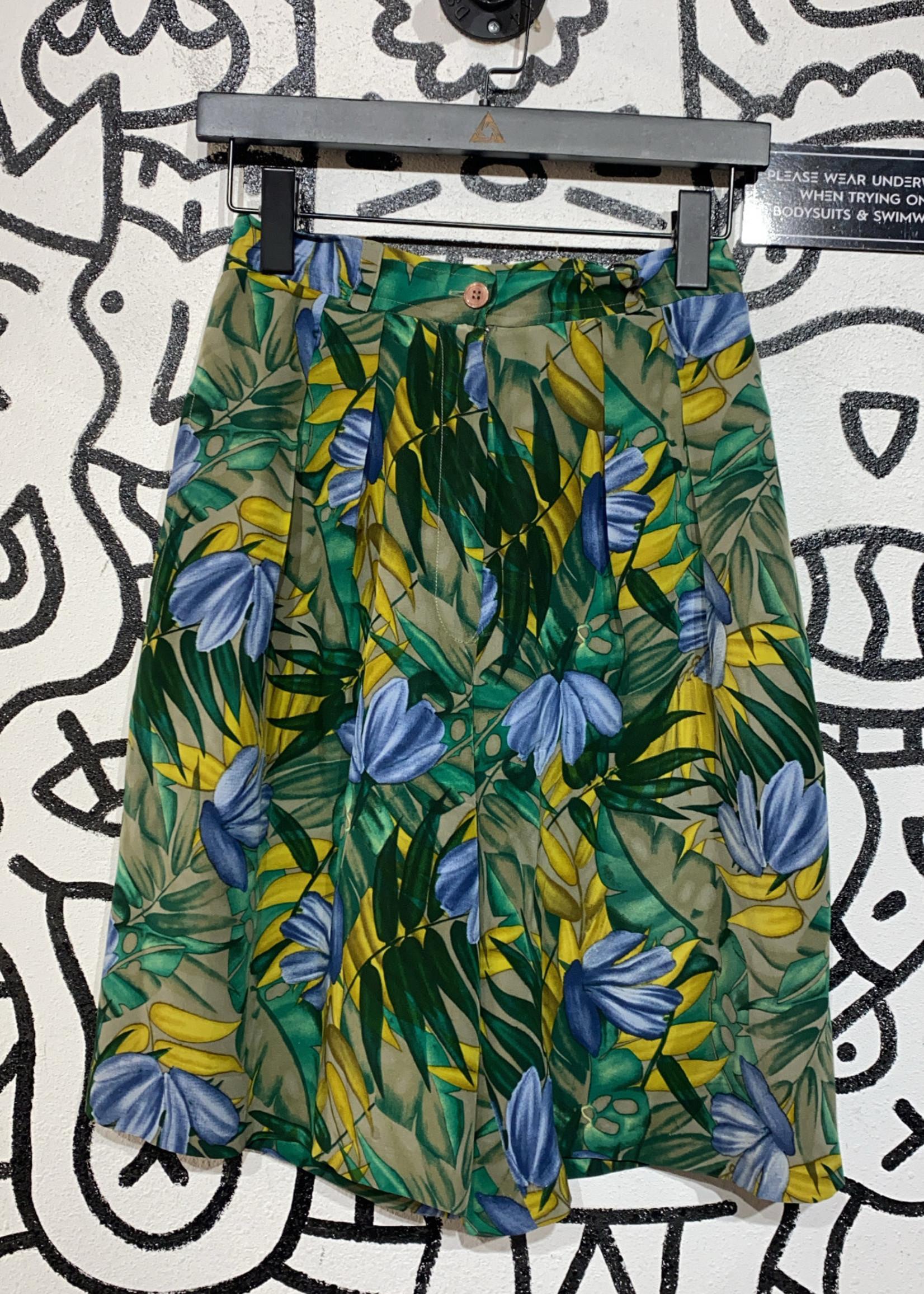"""Mark Shale Vintage Green Blue Leaf Print Shorts 28""""/S"""