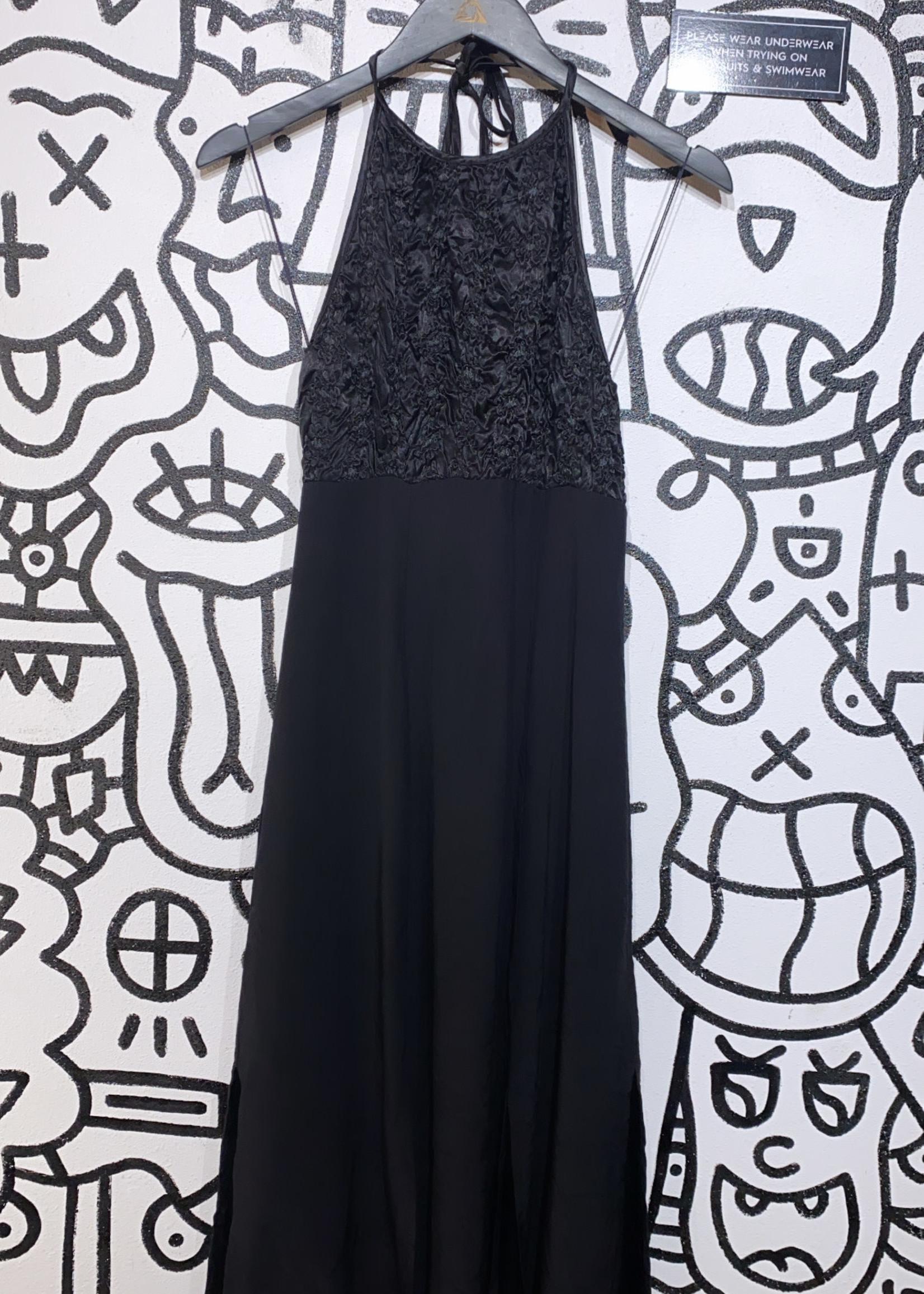 Vintage No Label Black Ruched flower Dress M