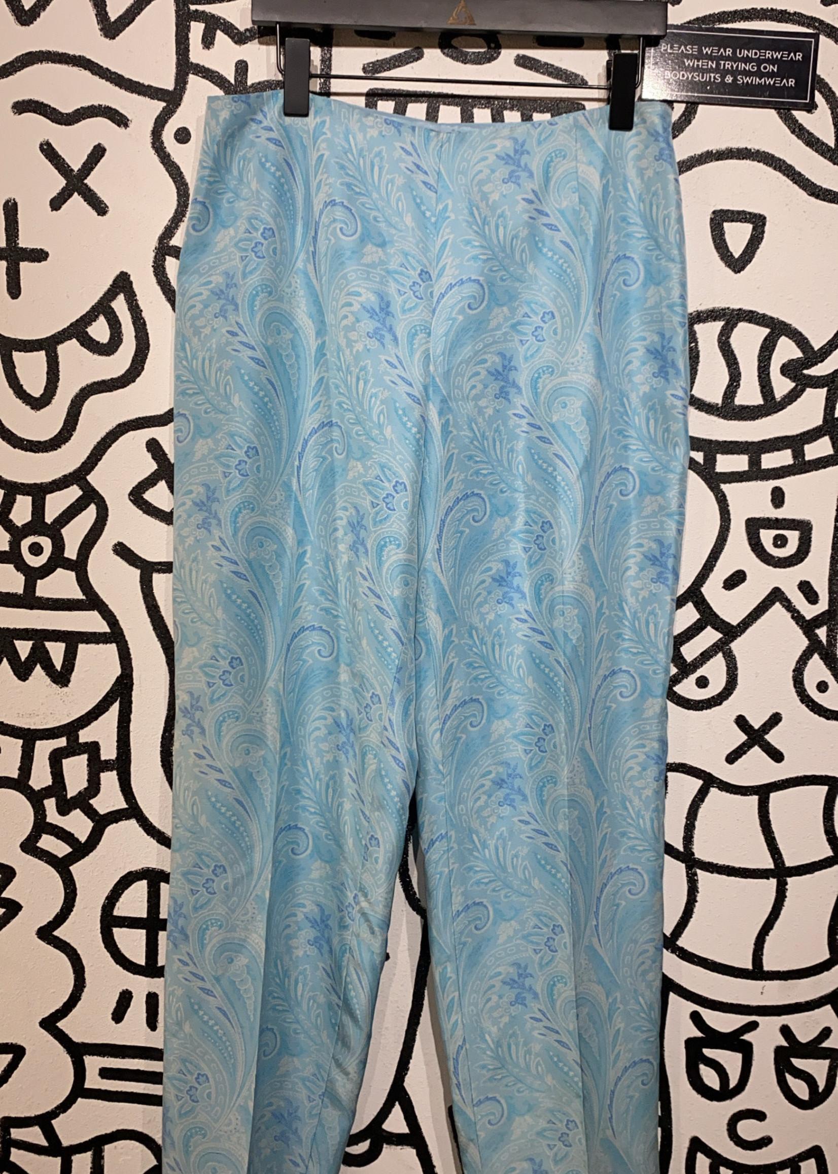 "Ann Taylor Vintage Blue Paisley Trousers 32"""