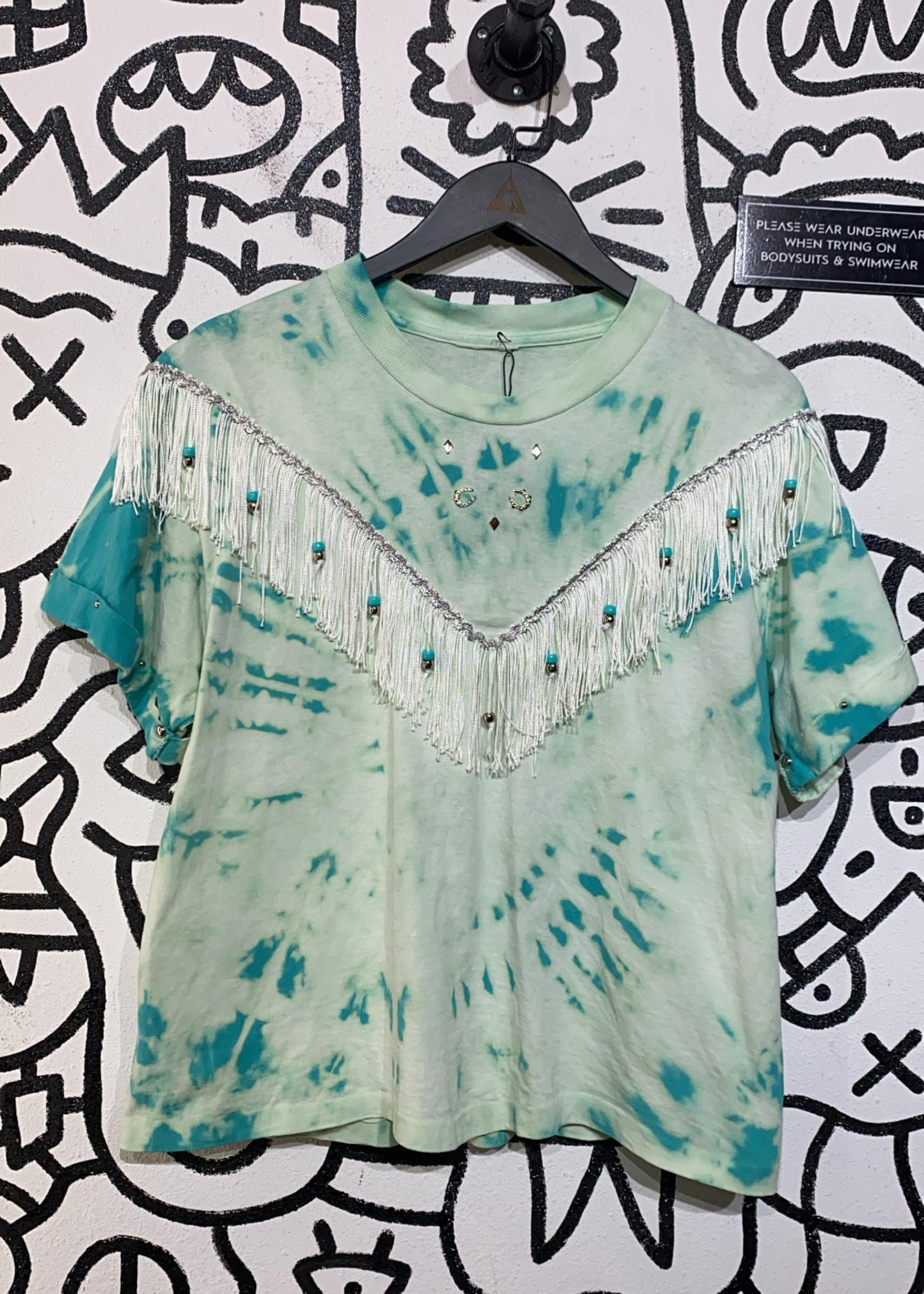 No label Teal Cowgirl tassle shirt M