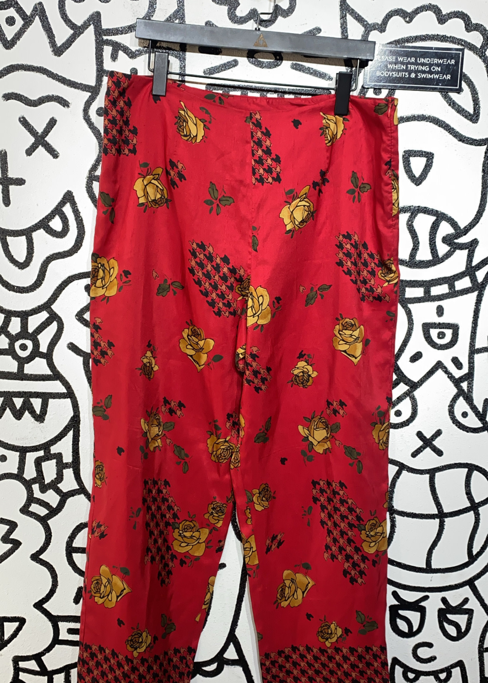Tess Silk Red Floral Print Pants 34