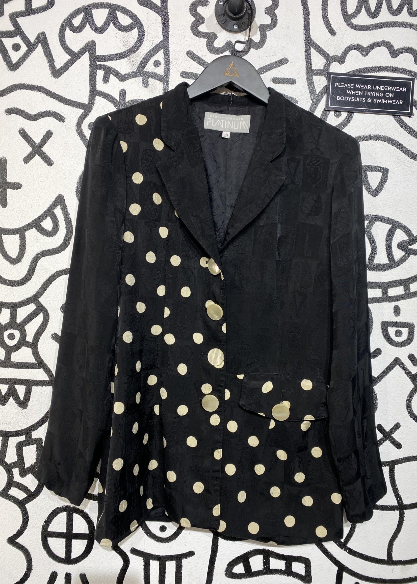 Dorothy Schoelen Platinum Vintage Black Polka Dot Blazer 12/M