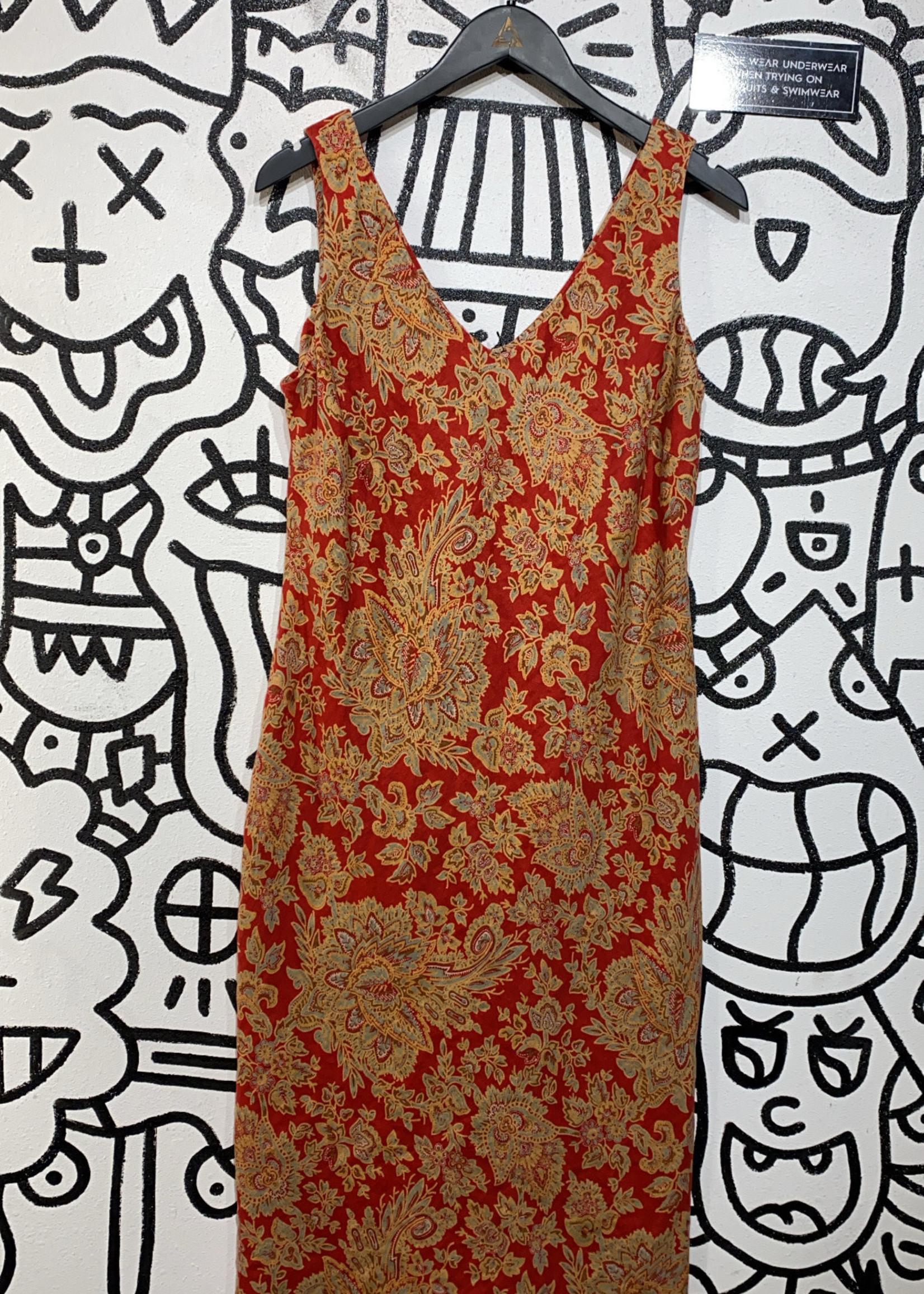 Ralph Lauren Vintage Orange Paisley Dress 12/L