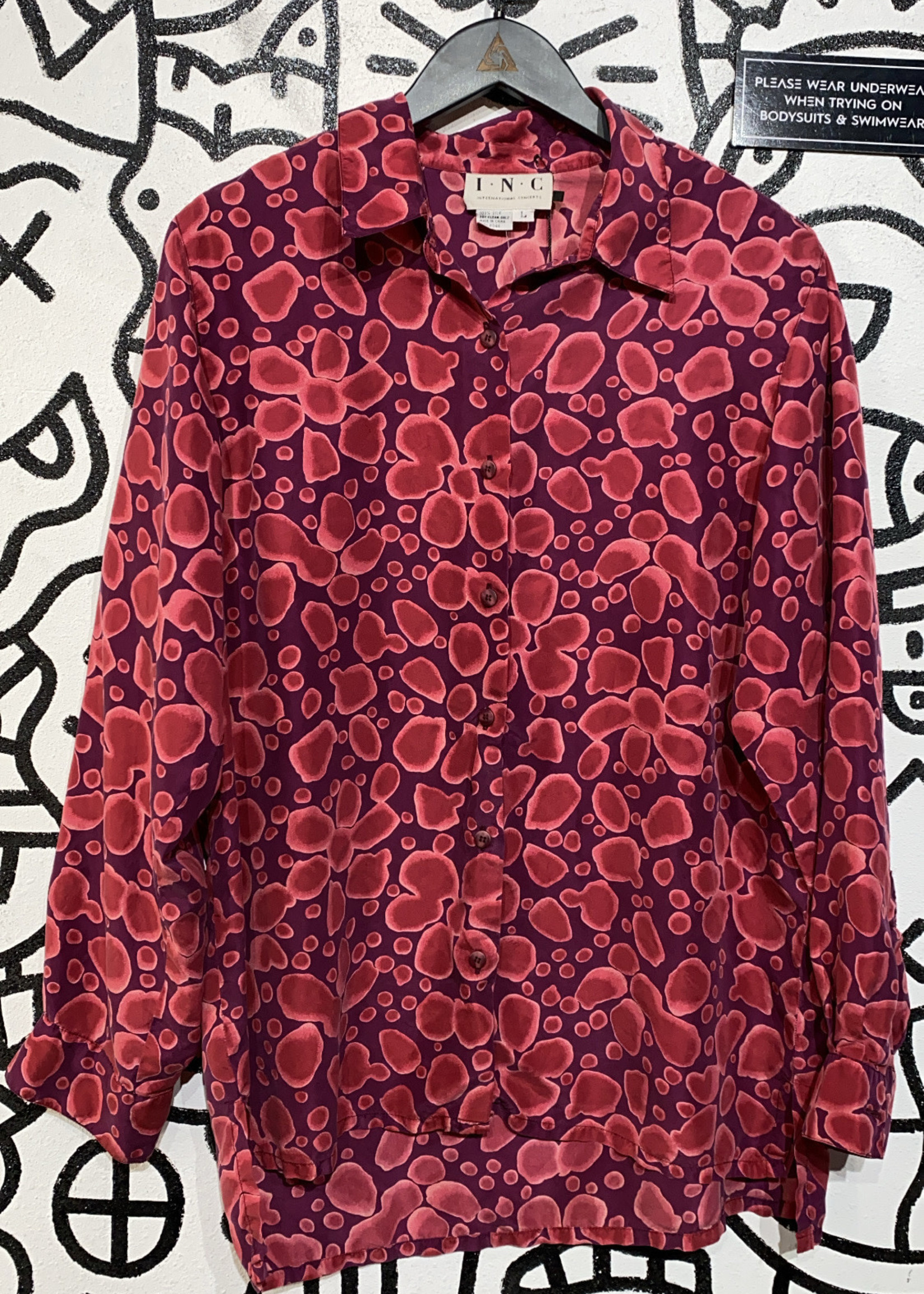 INC Vintage Red Pattern Silk Button Down L