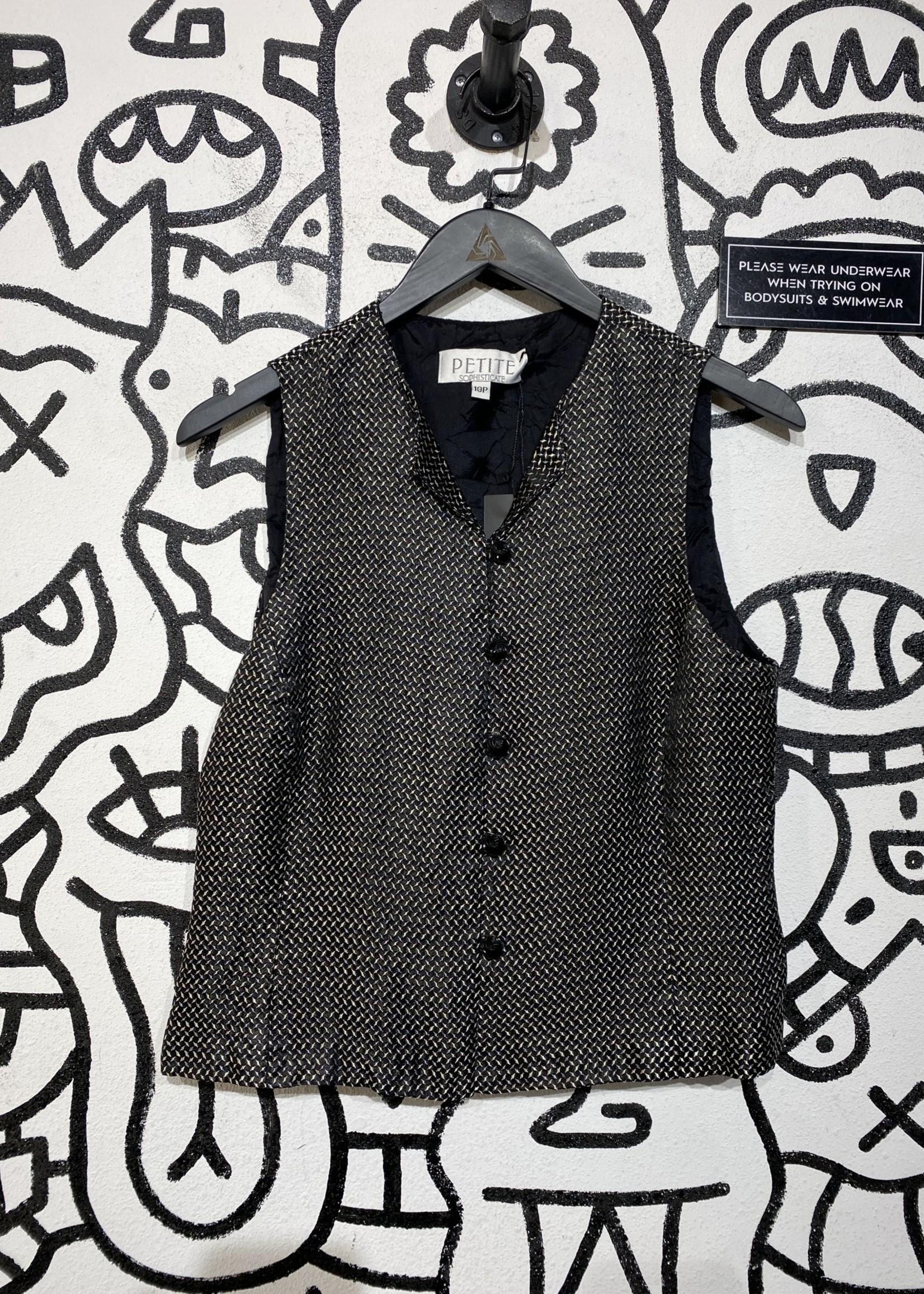 Petite Sophisticate Vintage Black Pattern Vest 10/M