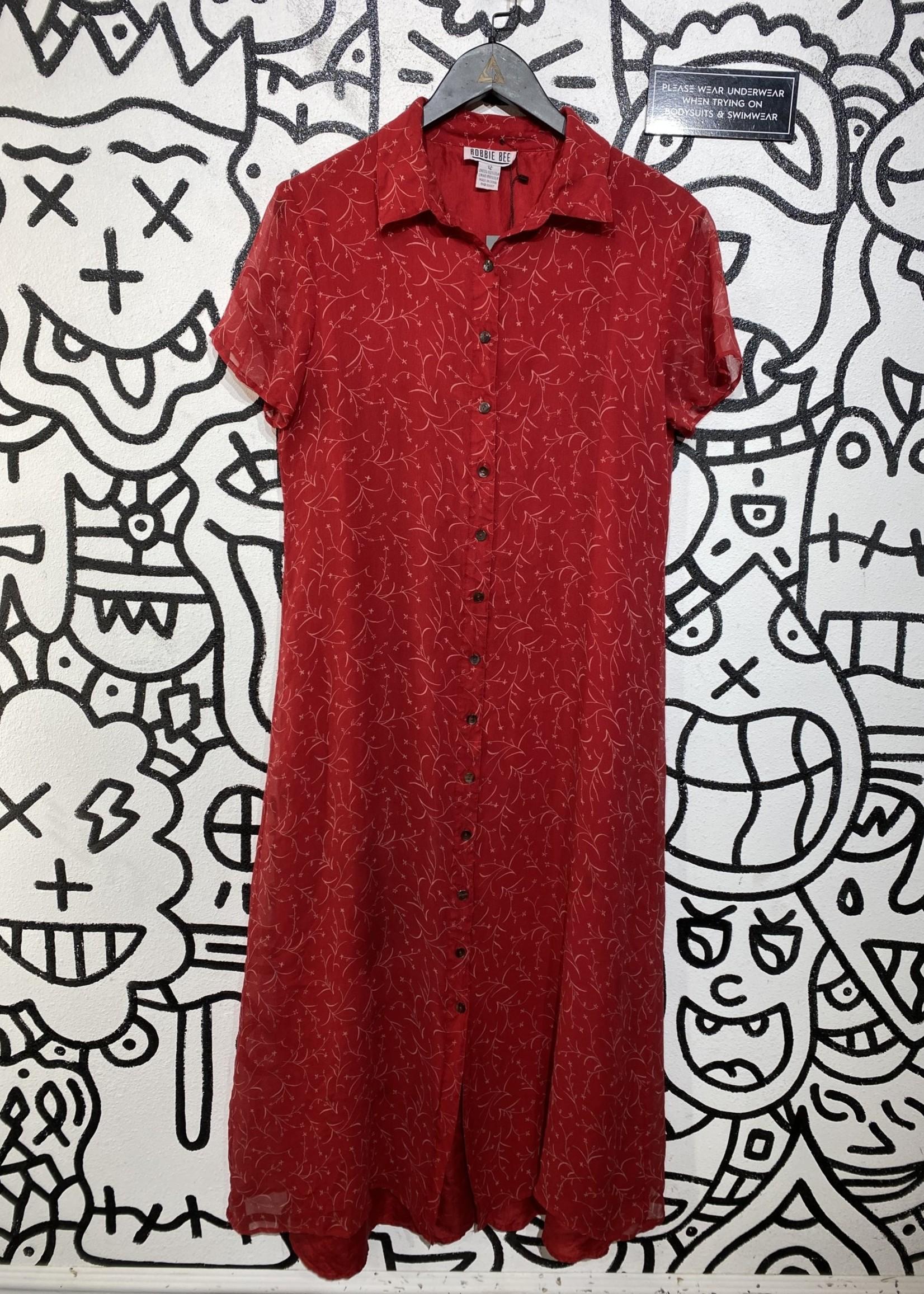 Robbie Bee Vintage Red Button Down Silk Dress 12/M