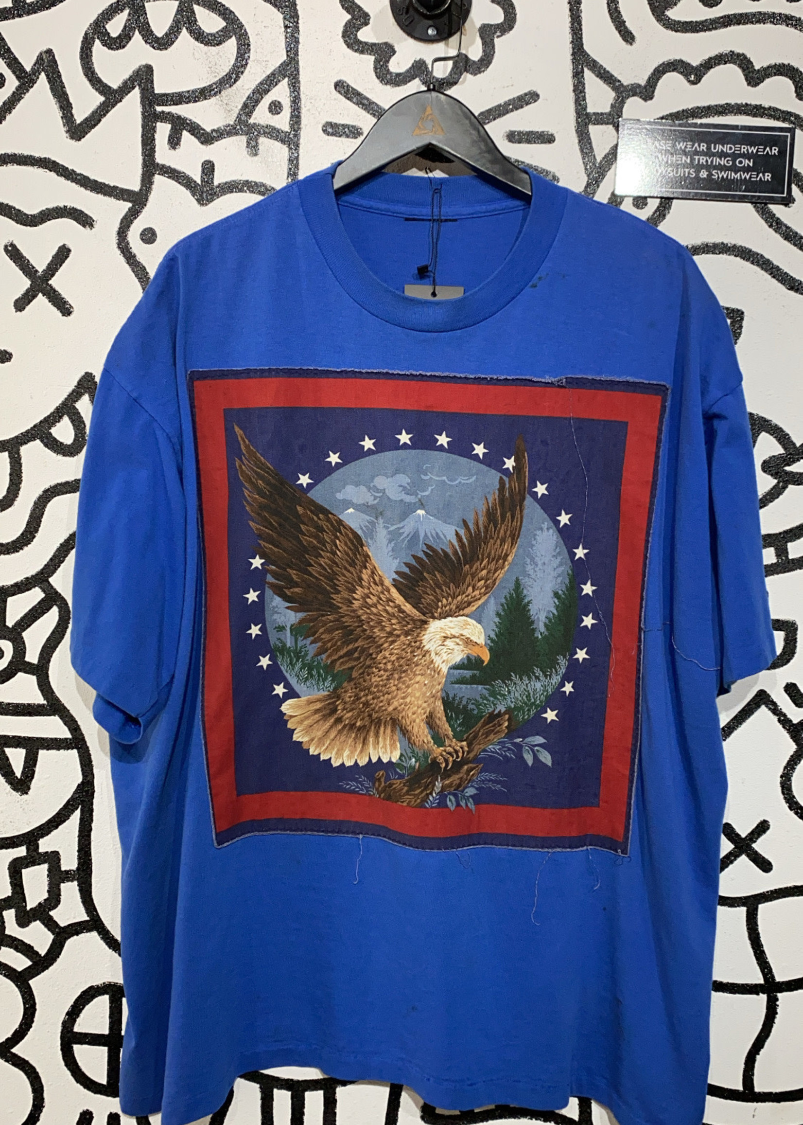 Vintage Blue T Shirt with Stitched Eagle Graphic XL AS IS