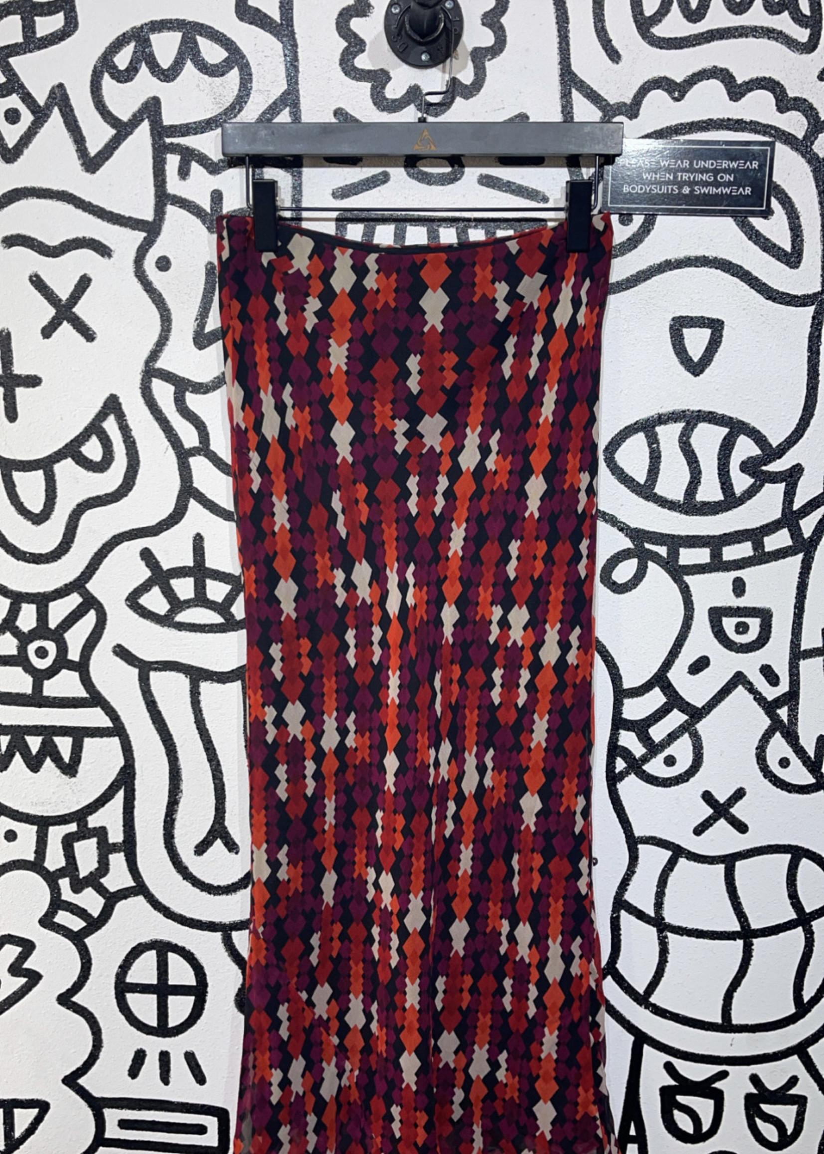 Karen Kane Vintage Maroon Multicolor Stretch Skirt S