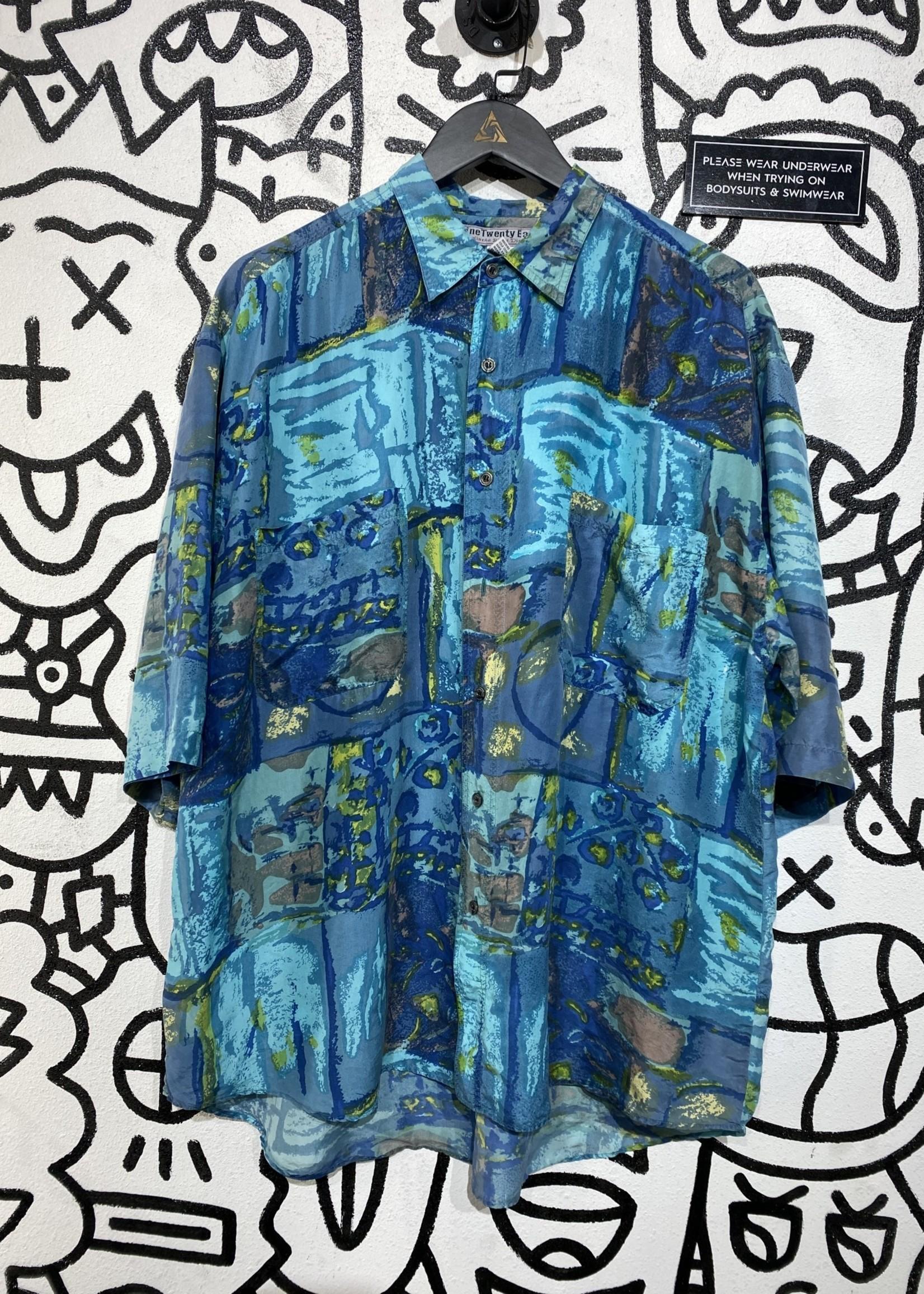 Nine Twenty East Blue All Over Print Silk Button Up L