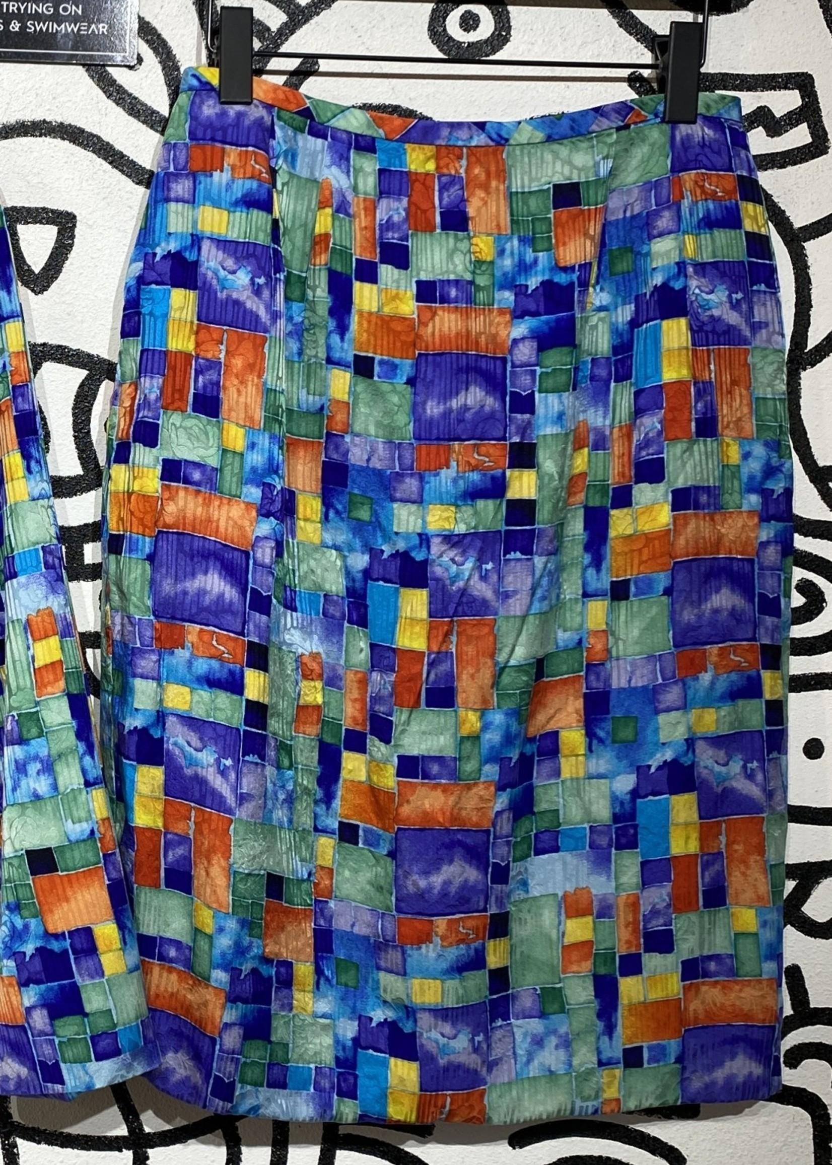 Rickie Freeman Colorful Skirt L