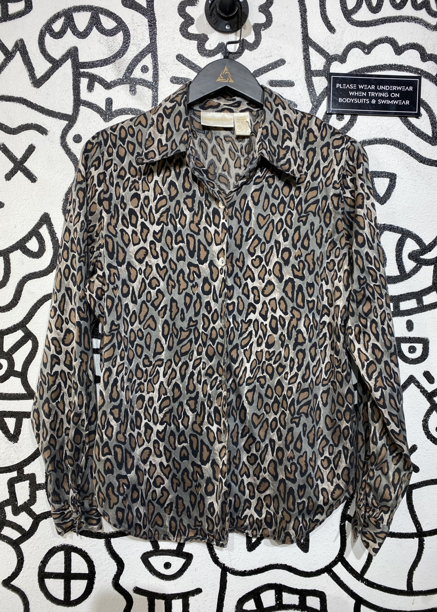 Christie and Jill Leopard Print Button Up L