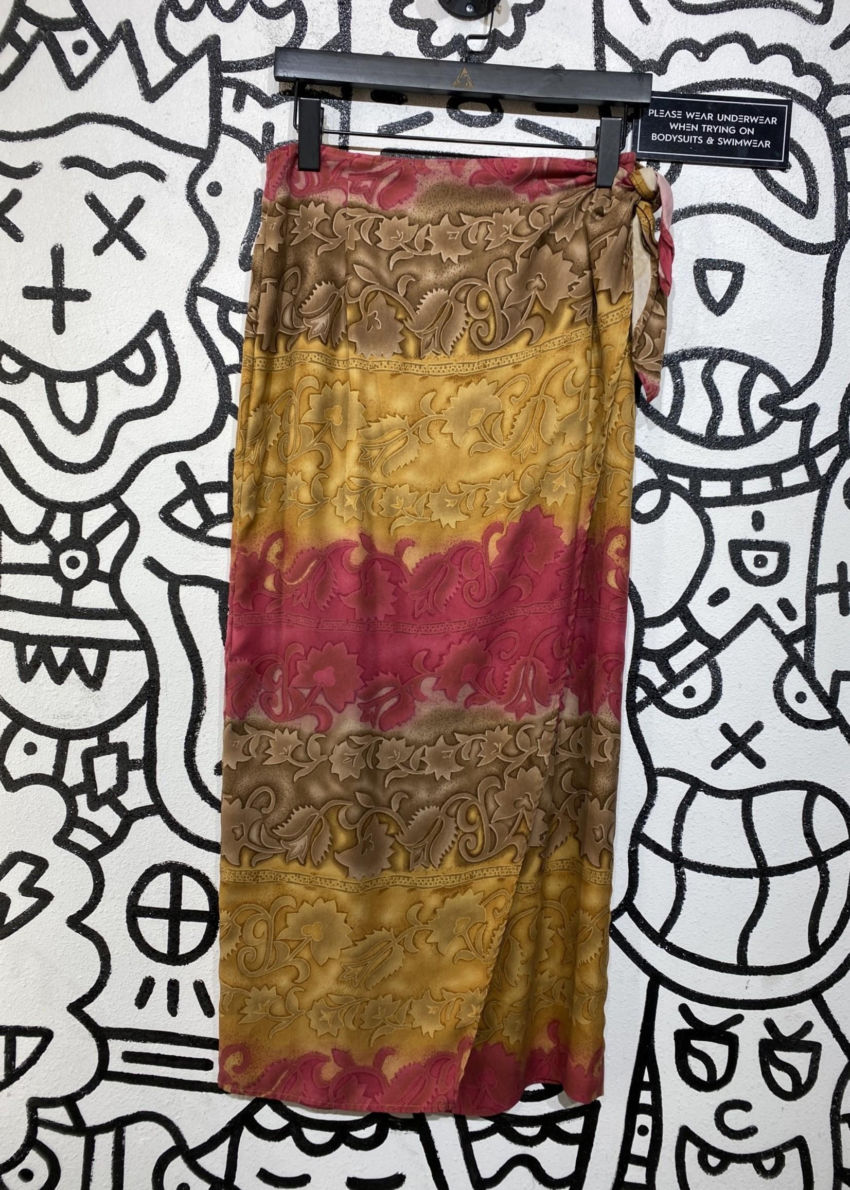 Honolulu Lulu Pink and Brown Silk Hawaiian Skirt M