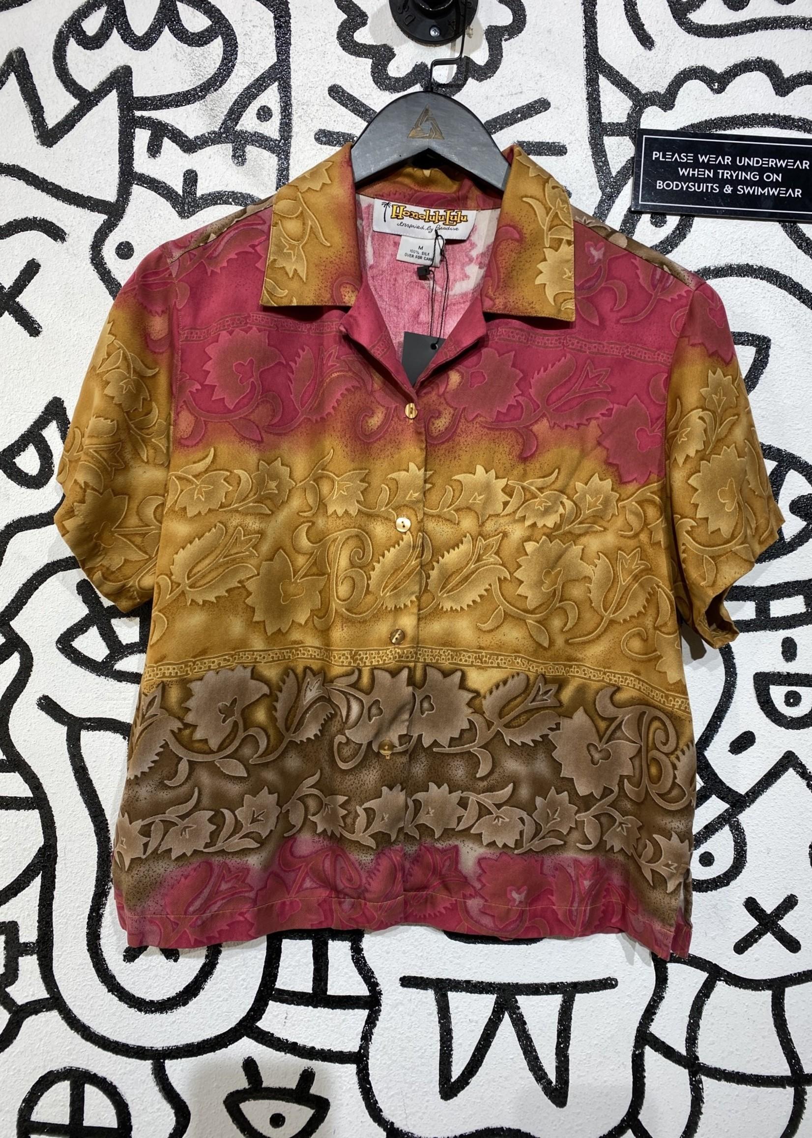 Honolulu Lulu Pink and Brown Silk Hawaiian Shirt M