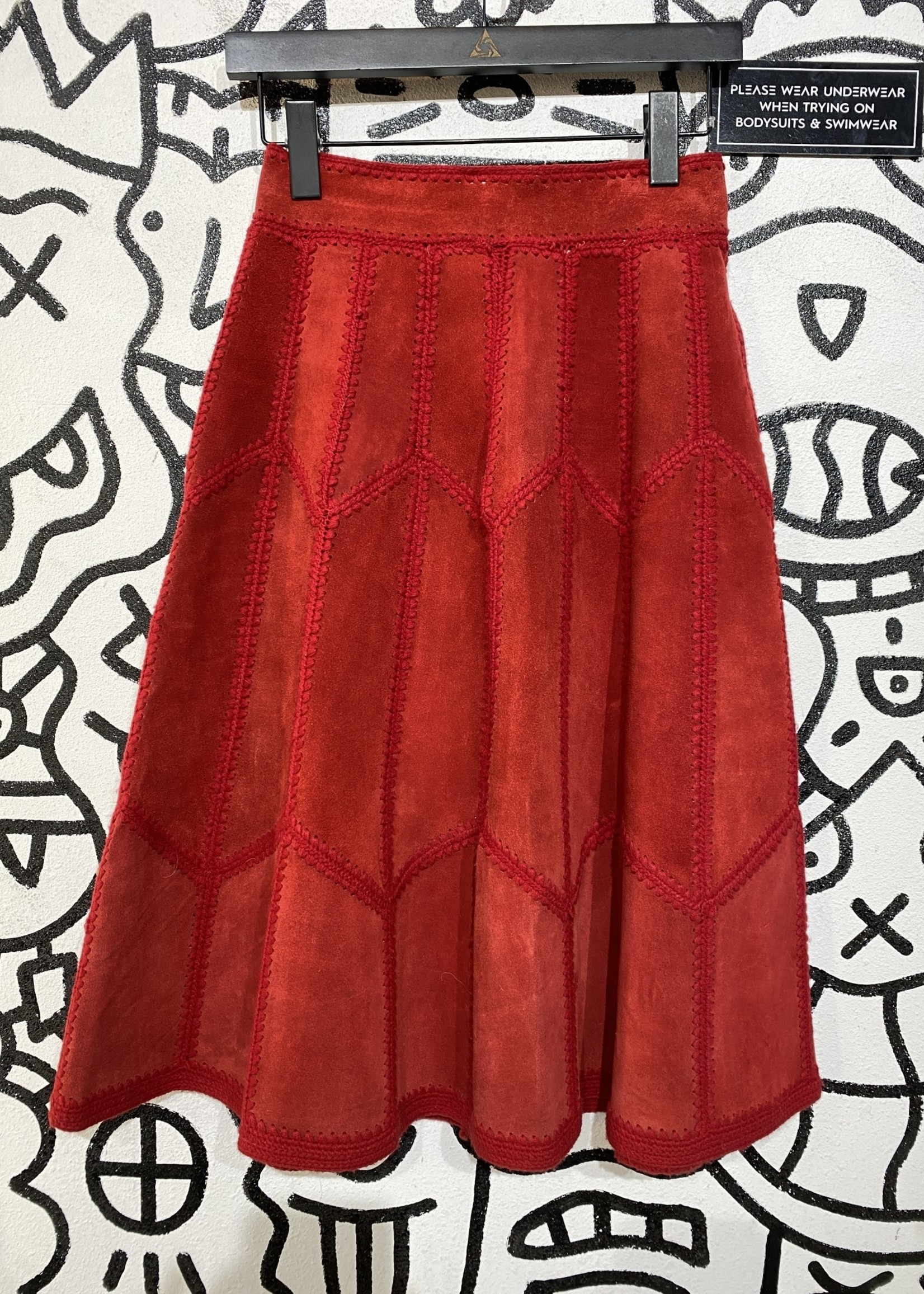 Vintage Ms Today Red Suede Skirt M