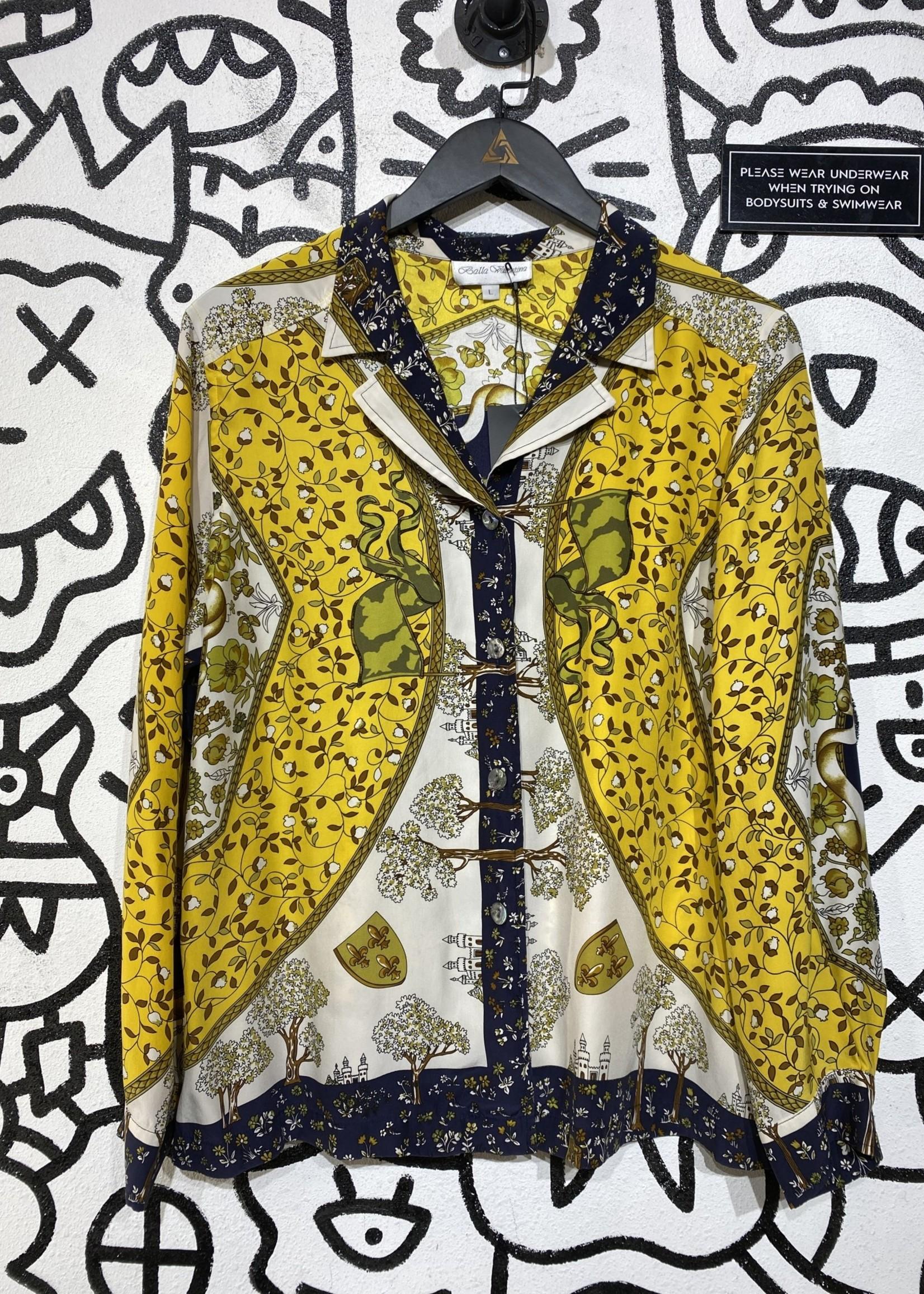 Balla Valentina Yellow Floral Print Button Down L