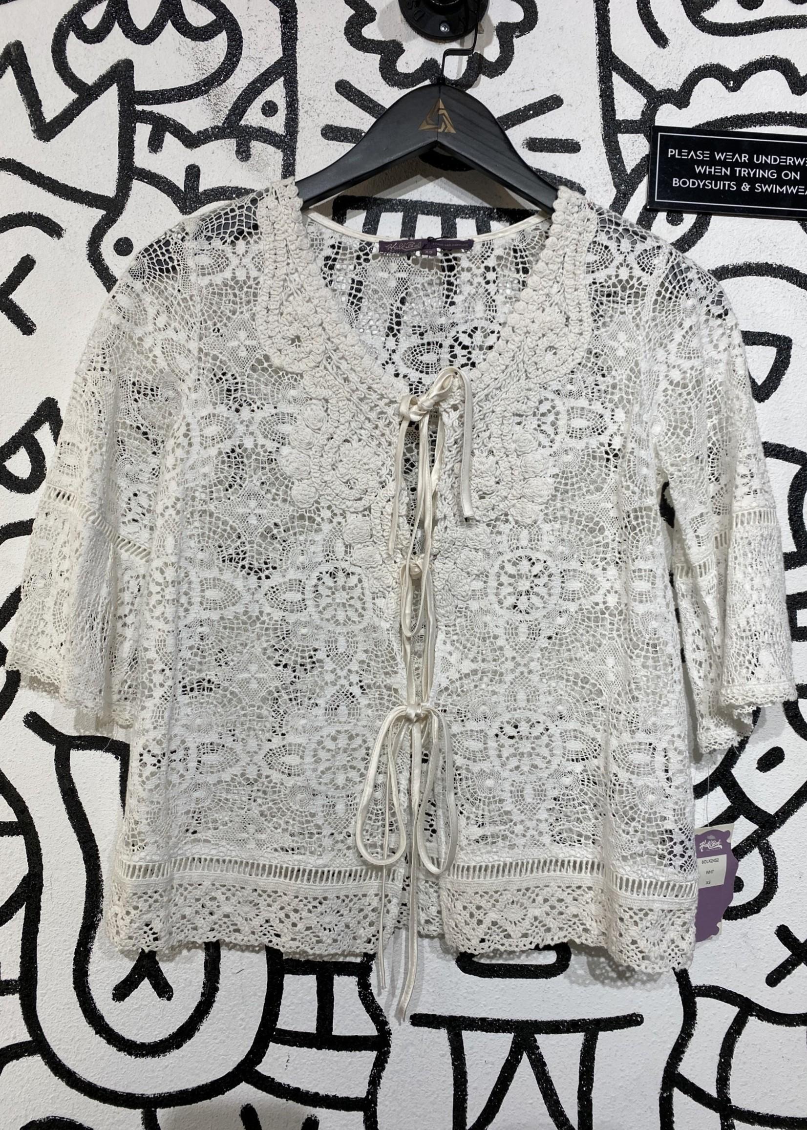 NWT Hale bob white lace top XS