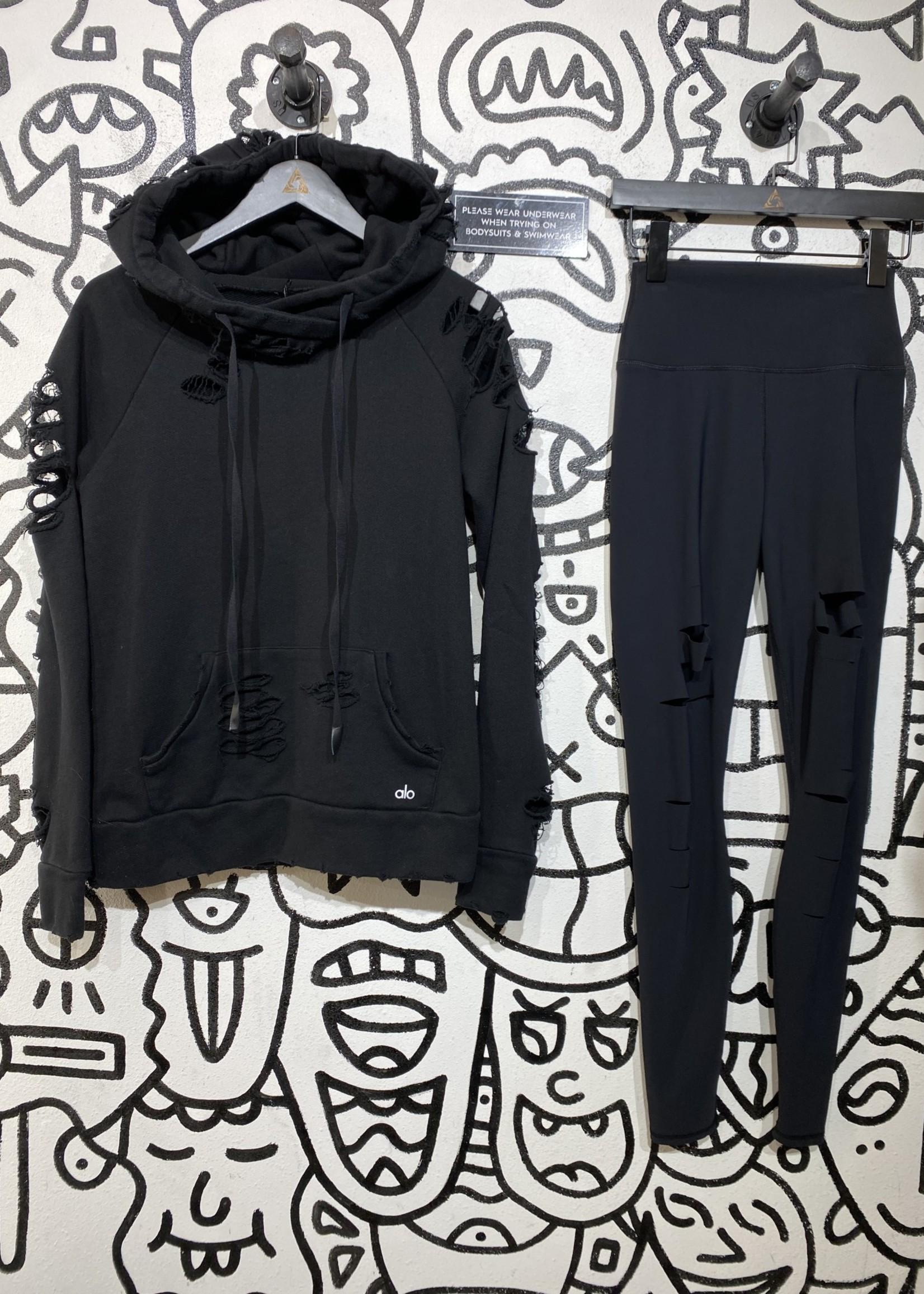 Alo distressed black hoodie S