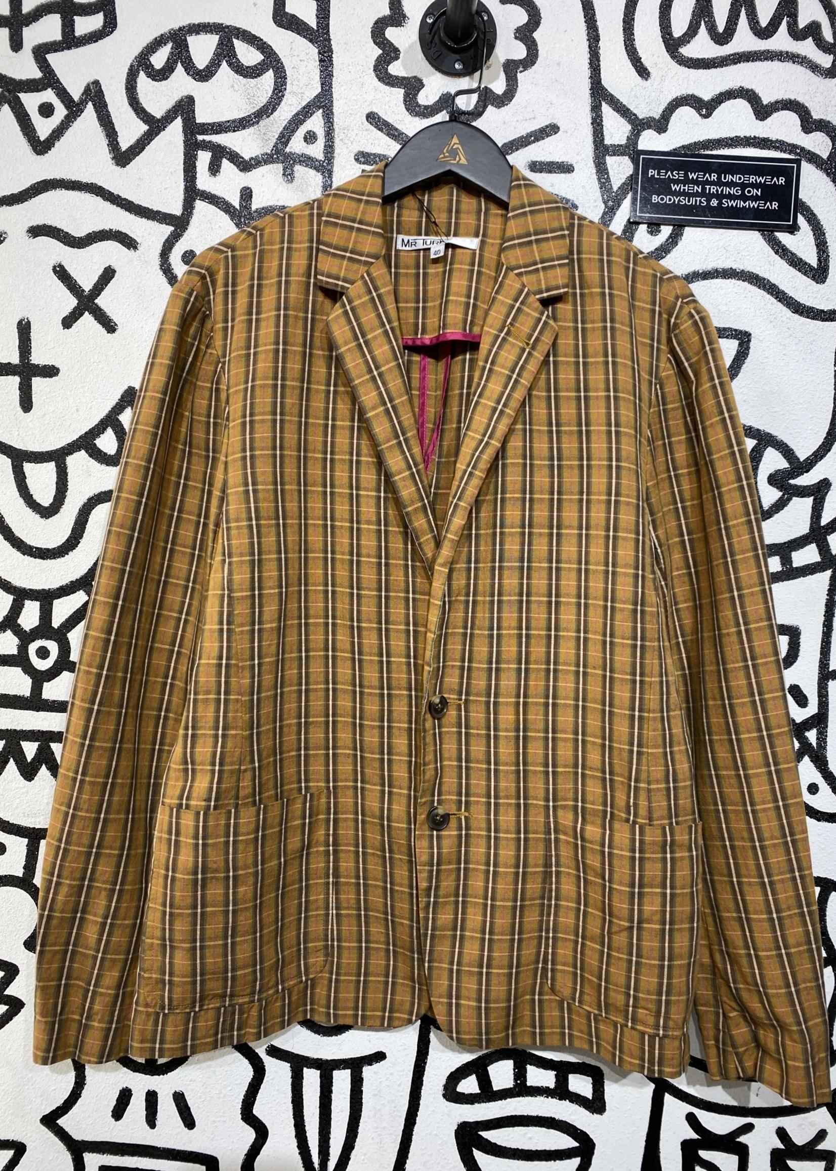 Mr turk brown plaid jacket L