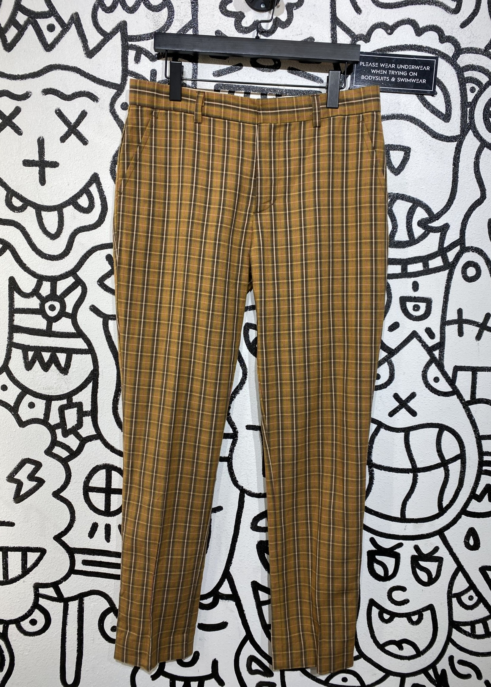 Deadstock brown plaid trousers 32