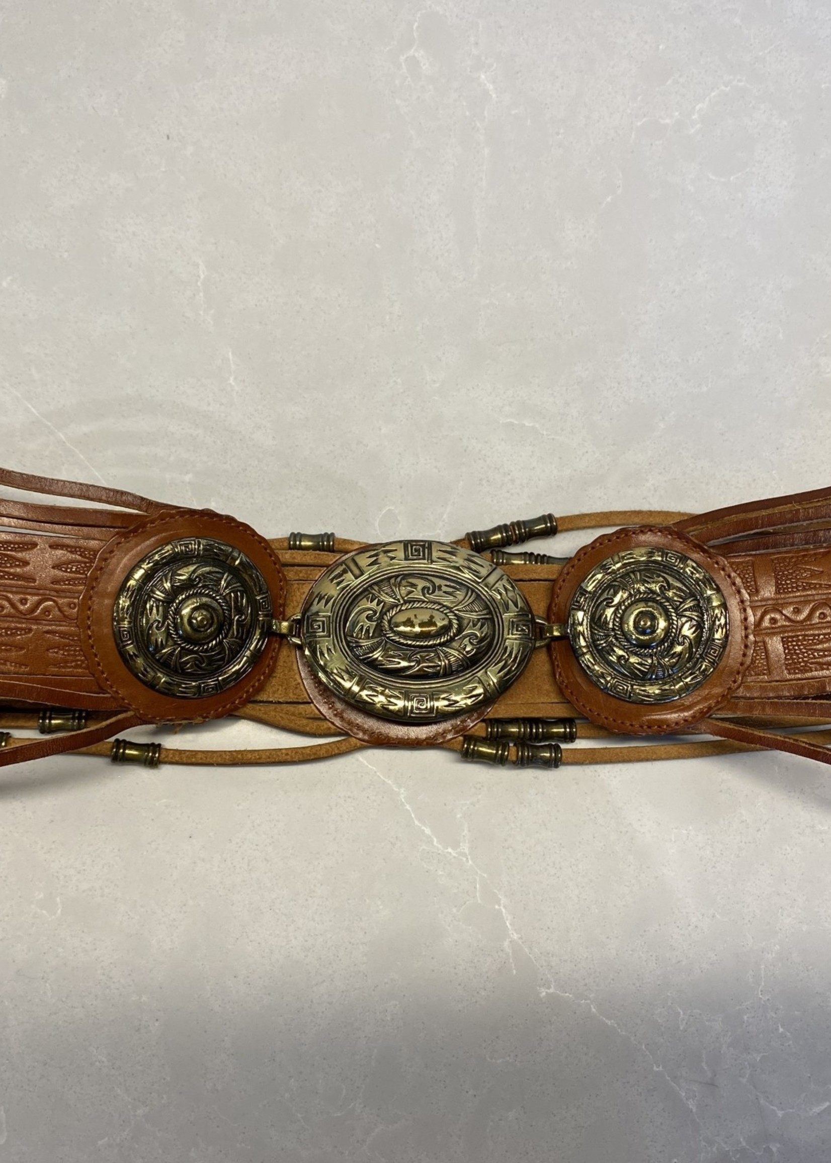 """Leather brown gold belt M/32"""""""