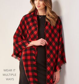Charlie Paige CP - Multiwear Plaid Soft Ruana