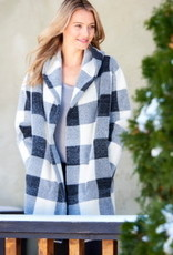 Charlie Paige CP - Grey Plaid Open Front Hooded Cardigan