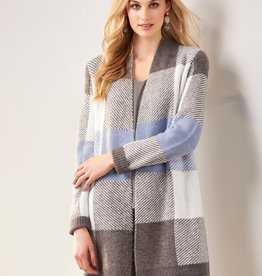 Charlie Paige CP - Grey & Blue Plaid Cardigan (2 colors)