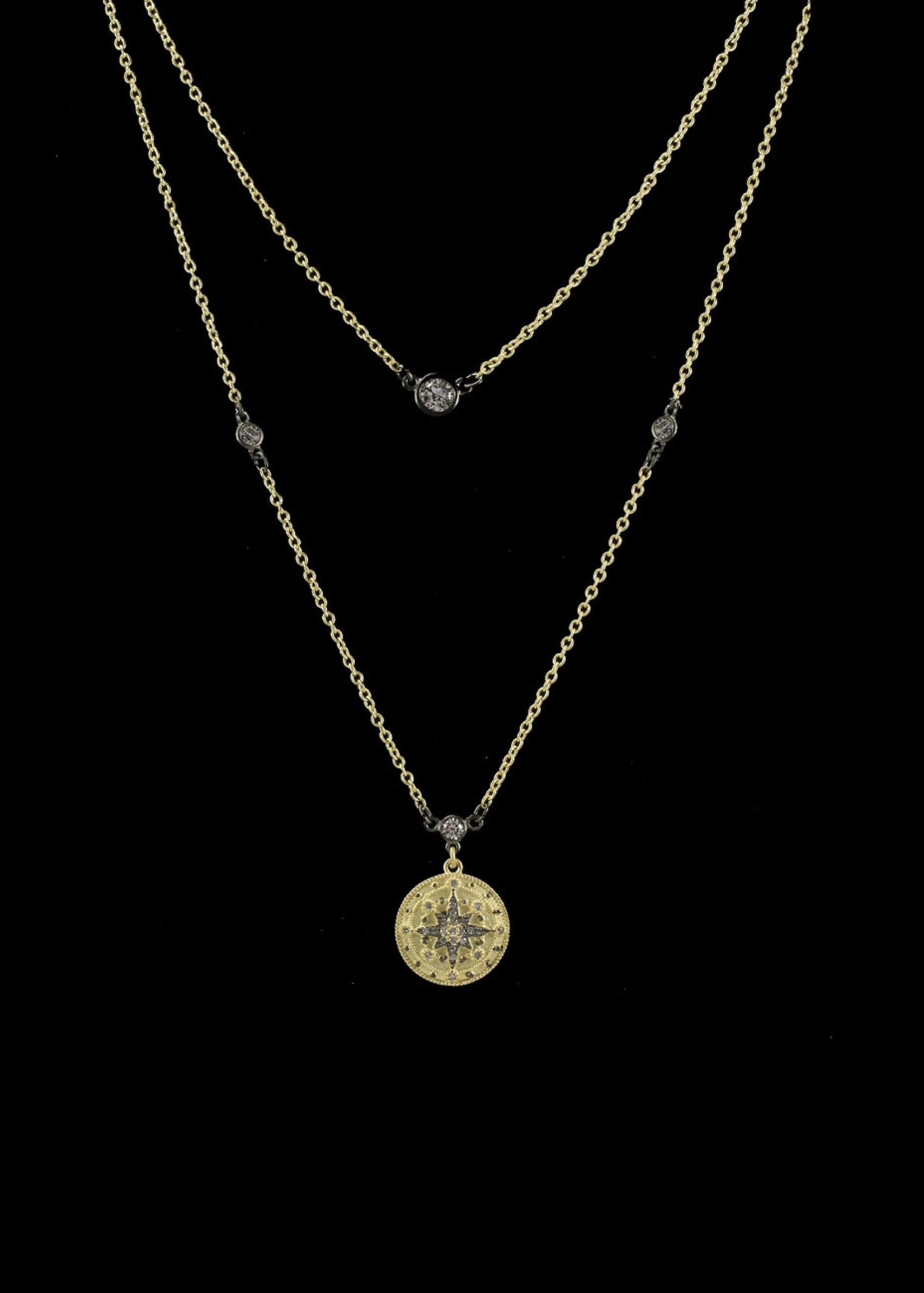 Be-Je Designs Beje - Double Gold Necklace w/Black Starburst (PU4087N)