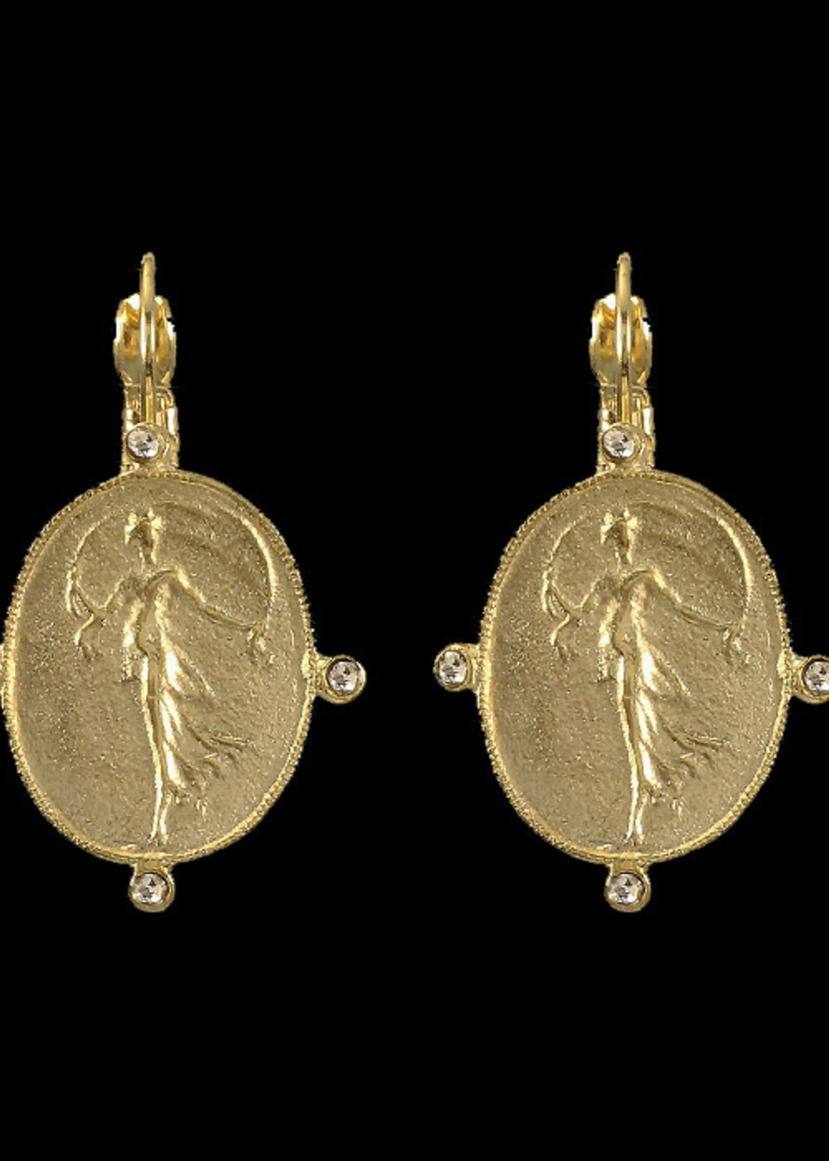 Be-Je Designs Beje - Gold Oval Wire Earring w/Standing Lady (MC3351E)