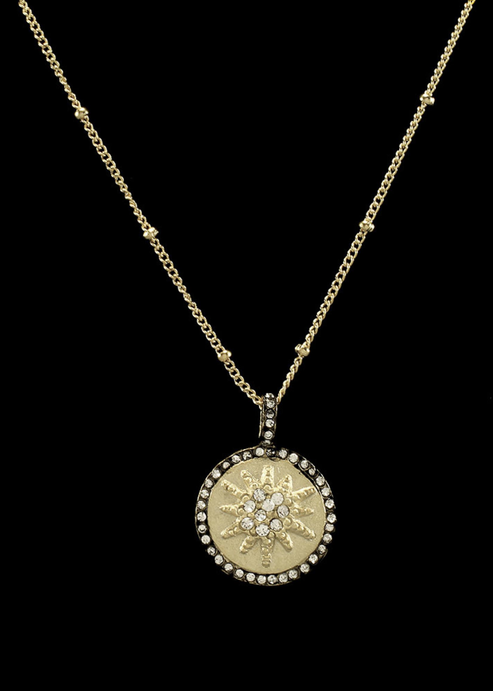 Be-Je Designs Beje - Gold Disc Necklace w/Starburst (MC3270N)