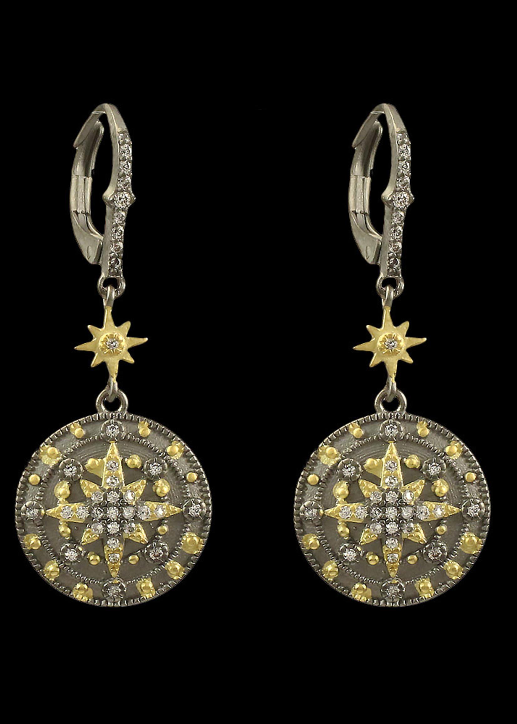 Be-Je Designs Beje - Black earring w/Gold Starburst (PU6270E)