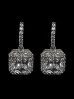 Be-Je Designs Beje - Silver Clear Square Drop Earring (VE10738E)