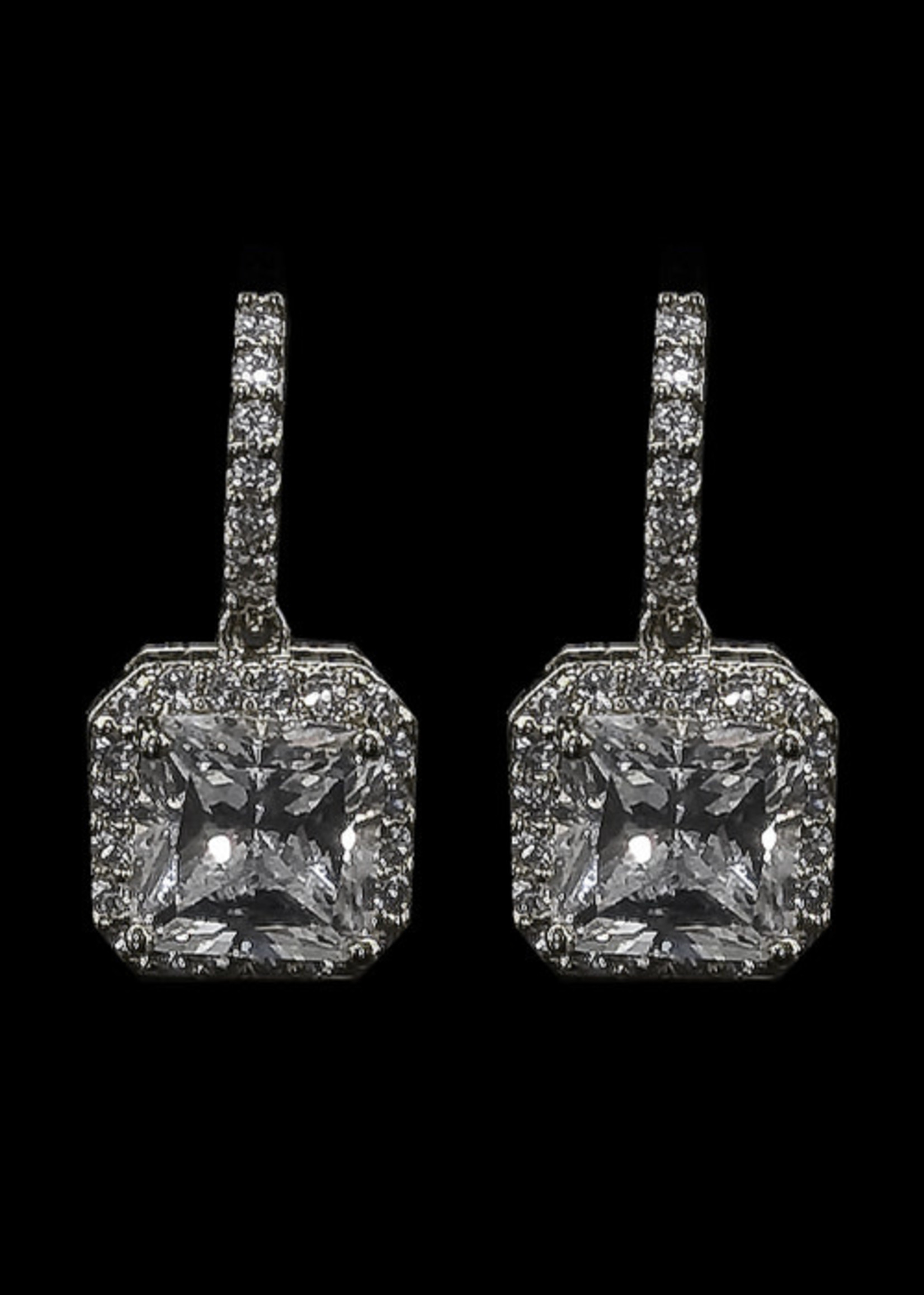 Be-Je Designs Beje - Silver Clear Square Drop Earring (VE10738E)