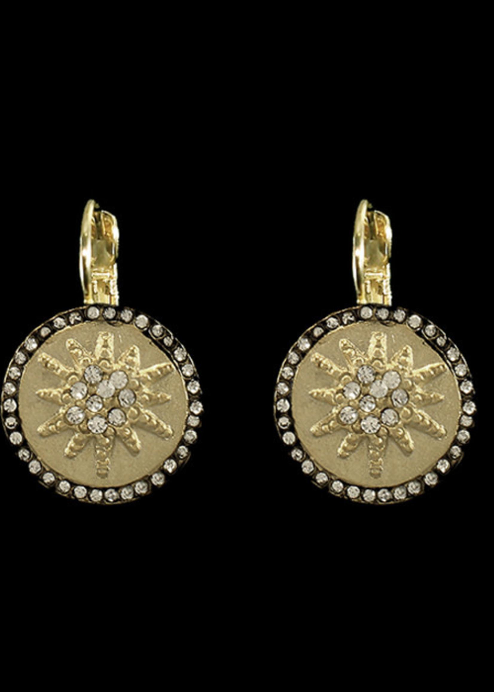 Be-Je Designs Beje - Gold/Black Round Starburst Earring (MC3270E)