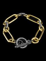 Be-Je Designs Beje - Gold/Black Toggle Bracelet (MC3520B)