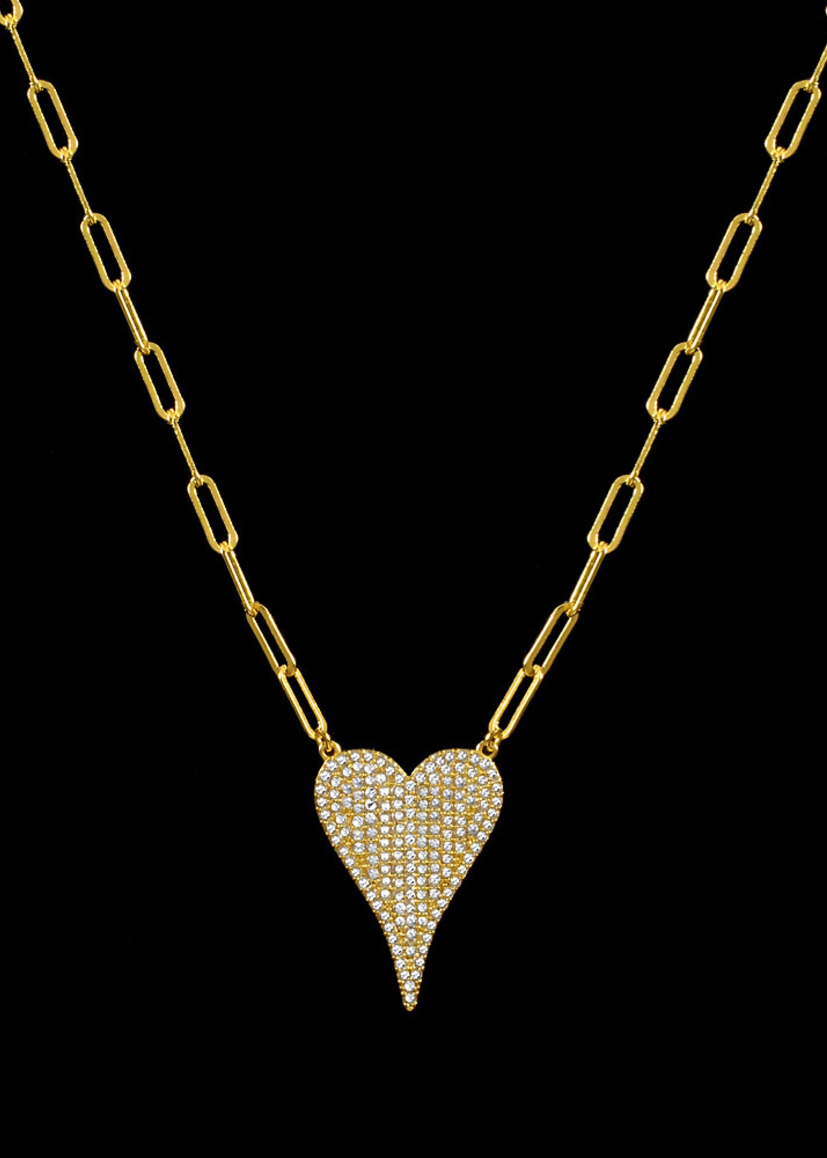 Be-Je Designs Beje - Gold Paperclip Chain w/Large Heart (KC068N)